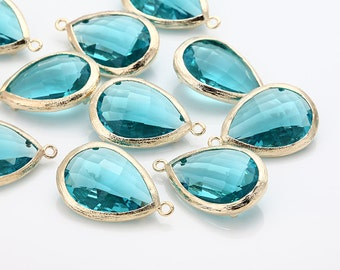Blue Zircon Teardrop Glass Pendant  Polished Gold-Plated - 2 Pieces [G0037-PGBZ]