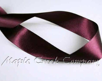 "5 yards of Burgundy Wine Double Face Satin Ribbon, 5 Widths Available: 1 1/2"", 7/8"", 5/8"", 3/8"", 1/4"""