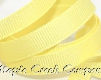 "5 yards Light Yellow (maize) Grosgrain Ribbon, 4 Widths Available: 1 1/2"", 7/8"", 5/8"", 3/8"""