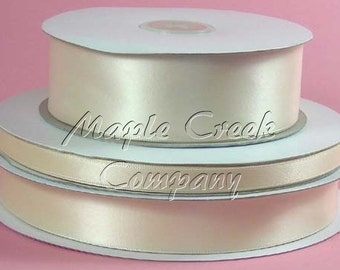 3/8 inch x 100 yards of Ivory Champagne Double Face Satin Ribbon