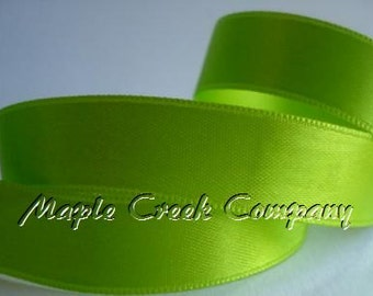 "5 yards of Apple Green Satin Single Face Ribbon, 2 Widths Available: 5/8"" or 3/8"""