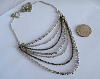 Antique Silver and Brass Layered Necklace
