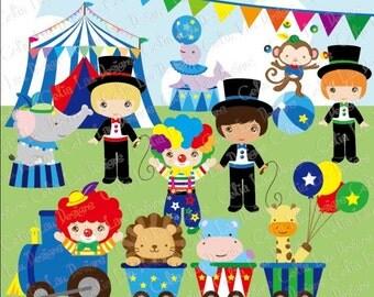 Baby Boy Circus clipart, Boys circus party clip art, Blue Circus Clipart ,baby boy babyshower clipart, (CG069 ) / INSTANT DOWNLOAD