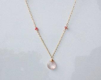 Olivia Necklace in Rose Quartz