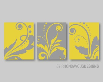 Yellow Wall Art, Baby Girl Nursery Wall Art, Blue Bedroom Pictures, CANVAS  Or