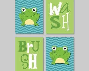 Child Bathroom Art - Child Bathroom Decor - Frog Bathroom Art - Frog Bathroom Decor - Bathroom Rules - Green Blue - Pick the Size (NS-339)