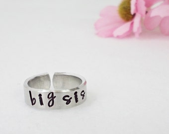 Big Sis Ring - Personalized Ring - Big Sister Ring - Handstamped Ring - Aluminum Ring - Adjustable Ring - Silver Ring