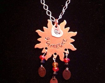 Hand Stamped Copper, mixed metal and crystal hand stamped pendant no chain.