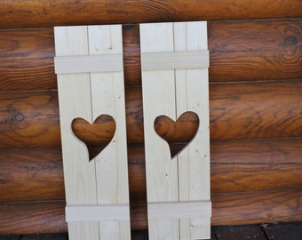 Primitive shutters with a heart shape cutout, unfinished. Set of 2.