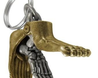 Two-Tone Human Foot Keychain - Podiatry Keychain, Anatomy Keychain, Podiatrist, Medical, Anatomy Gift