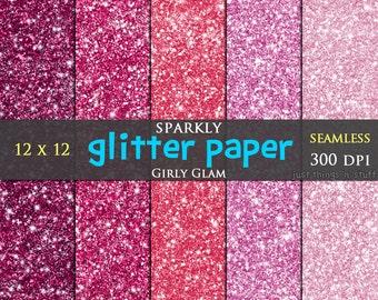 "Glitter Digital Paper ""Pink"" Seamless Texture Background,Glitter Scrapbook Paper,Digital Glitter Paper,Girly Glitter,Glitter Clipart,Sparkle"