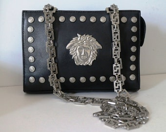 Free Ship. Rare !! Vintage Gianni Versace Silver Medusa Back leather Bag. Layaway available. Free shipping