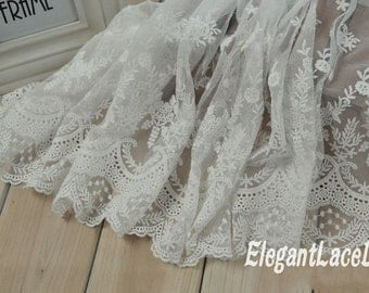 White Mesh Lace Vintage Style Embroidered Lace, Floral Lace, Bridal Dress, Home Decor Supplies10.23 inches wide 2 yards E1522