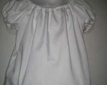 Girls White Blouse Peasant Shirt Top to go under a Boutique Outfit or Dress 2 3 4 5 6 7 8