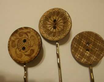Coconut button bobby pins