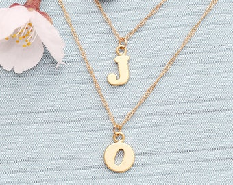 Gold Plated, Simple Double Layer Chain, Personalized Tow Initial Charm, Necklace