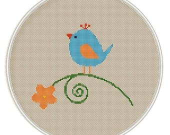 Bird with flower Cross Stitch Pattern, Cross Stitch Pattern, Needlepoint Pattern, cross stitch PDF birds on tree