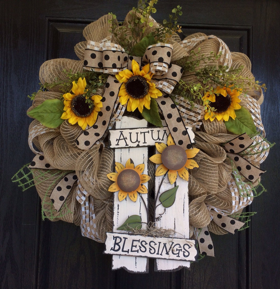Fall Autumn Wreath Fall Deco Mesh Wreath Sunflower Burlap