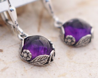 Romantic Amethyst Earrings - Sterling Silver Lever Back