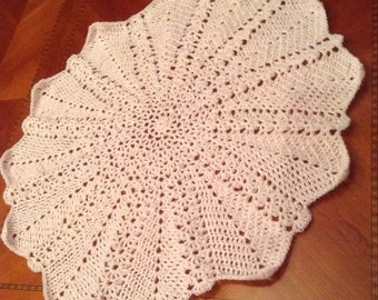 Crocheted Lacey Round Ripple Blanket--Pink