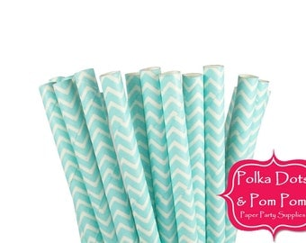 25 LIGHT BLUE / Baby Blue / Chevron Paper Drinking Straws / Birthday Party Decorations and Supplies / Wedding / Baby Shower / BBQ