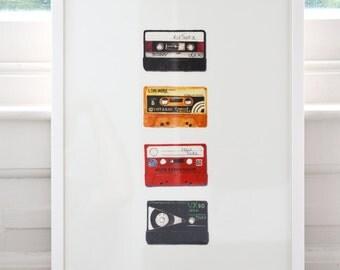 A3 Retro Cassette Tape Print