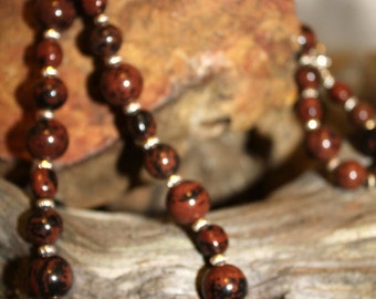 Mahogany Obsidian necklace with sliver plated accents.