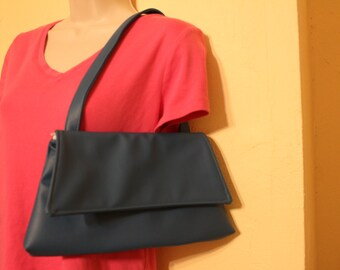 Medium blue  small vinyl purse