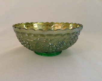 Vintage Carnival Glass Bowl, Iridescent Green