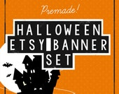 Halloween Etsy Shop Set / Etsy Banners /  Store Graphics, Avatar, Custom Listing, Reserved, Sale, Banner