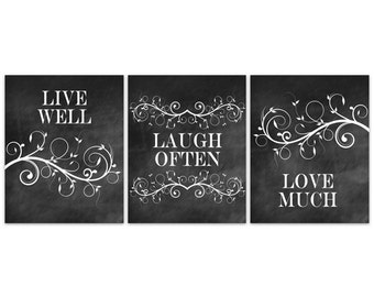 home decor wall art home decor canvas and prints live laugh. Black Bedroom Furniture Sets. Home Design Ideas