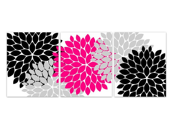 Pink Black Wall Decor : Home decor canvas wall art hot pink and black flower burst
