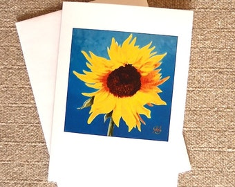 Sunflower Blank Card yellow flower on blue background from my original painting