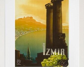 Travel Poster Turkey Art Print Izmir Vintage Turkish Home Decor (TR134)