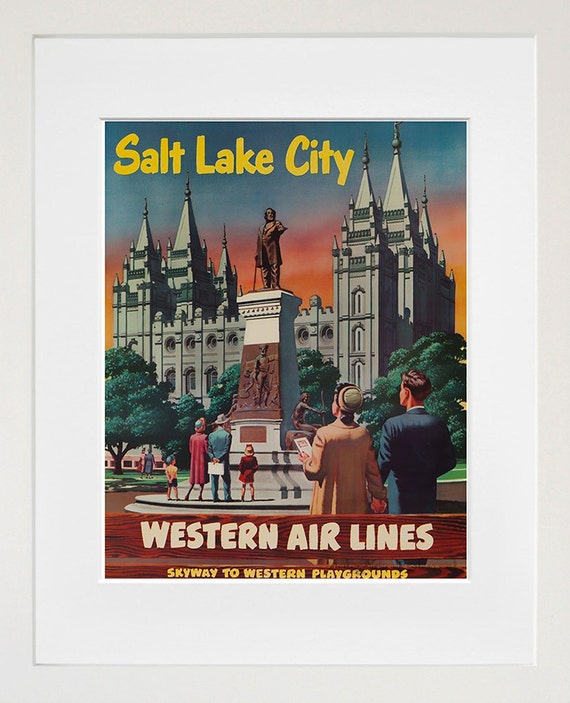 Salt Lake City Art Vintage Travel Poster Print Home Utah Wall