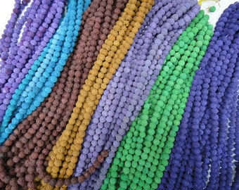 8 colors for selection, colored 8mm lava stone round beads,  15.5 inch