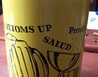 Vintage Kromex plastic barware ice bucket Cheers Bottoms Up