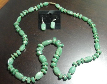 Beautifulwill Jade Necklace & Earrings with Gold Metal Bead Accents