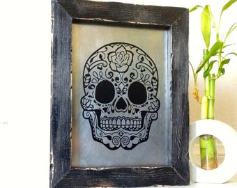 Sugar Skull Art, Dead Of The Dead Sugar, Dia De Los Muertos, Skull Wall Art, Hanging Wood Sign, Metal Sign