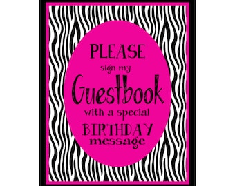 Hot Pink & Black Guestbook birthday sign for Tweens and Teens - DIY Download and Print - Printable File
