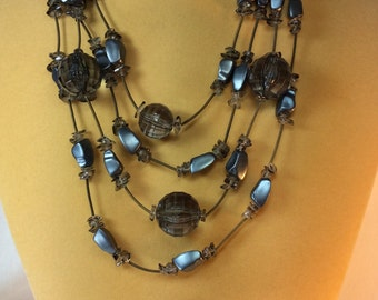 Grey Vintage Necklace And Earring Set