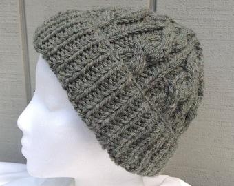 Chunky knit green hat - Womens wool blend hat - Teens knitwear - Green wool mix beanie