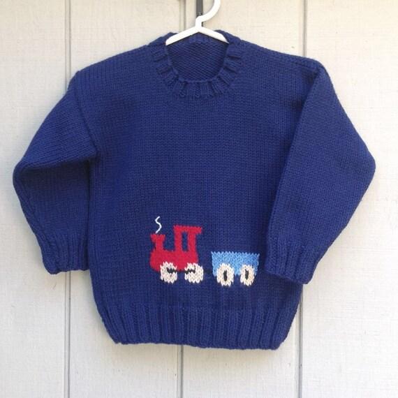 Knitting Pattern Train Sweater : Train sweater Ages 2 to 7 years Kids knit train by LurayKnitwear