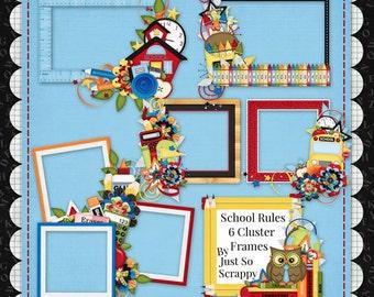 Digital Scrapbooking Kit School Rules Cluster Frames - Digital Scrap Kit