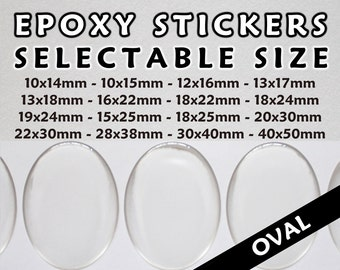 250 Pcs. Clear Oval Epoxy Stickers - Transparent Oval Resin Domes