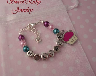 Personalized Birthday Cupcake Bracelet for Girls,Kids,Children - With An Elegant Gift Box