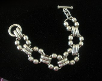 Elegant  Heavy Sterling Link Bracelet Marked 925 ~ A Real Classic