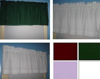 Handmade SOLID Cotton Kelly Green White Lavender Burgundy window Curtain Valance