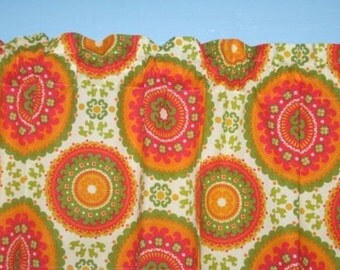 Handmade 100% Cotton Suzzani Orange Yellow Coral Window Curtain Valance