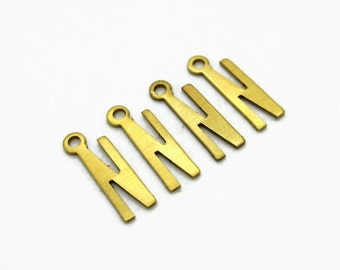Letter N Initial charm pendant, Brass Alphabet, 4pcs